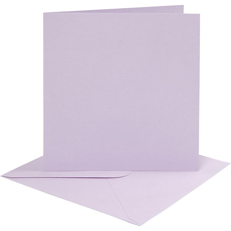 Kort og kuverter, kort str. 15,2x15,2 cm, 210 g, lys lilla, 4sæt, kuvert str. 15,5x15,5 cm