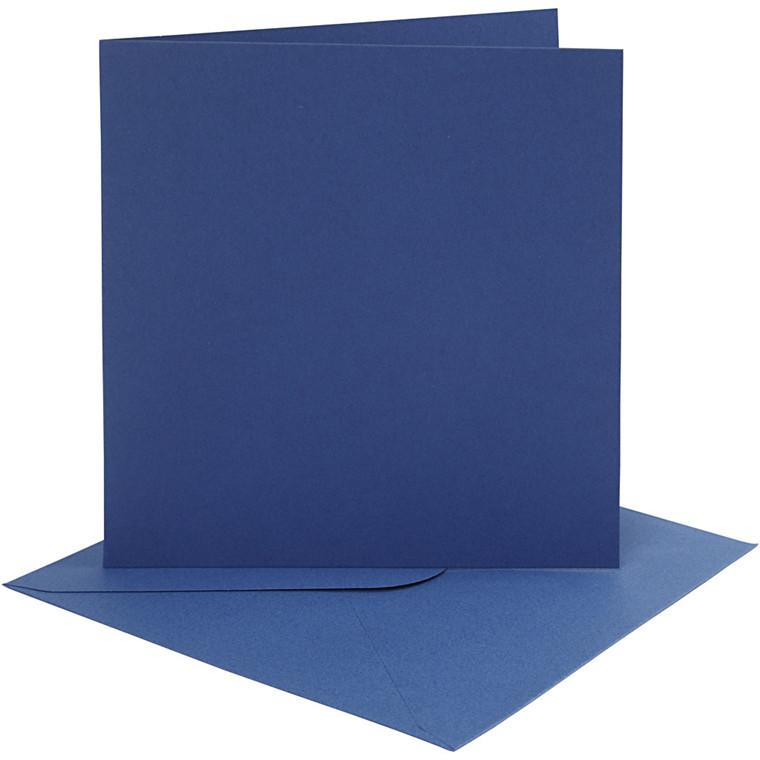Kort og kuverter, kort str. 15,2x15,2 cm, 220 g, blå, 4sæt, kuvert str. 15,5x15,5 cm
