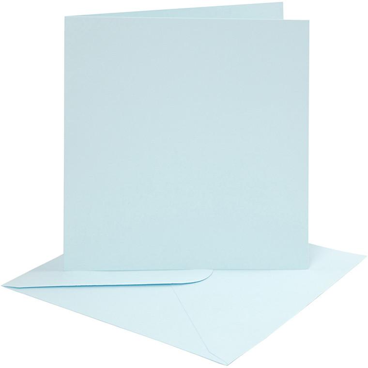 Kort og kuverter, kort str. 15,2x15,2 cm, 220 g, lys blå, 4sæt, kuvert str. 15,5x15,5 cm