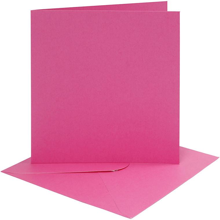 Kort og kuverter, kort str. 15,2x15,2 cm, 220 g, pink, 4sæt, kuvert str. 15,5x15,5 cm