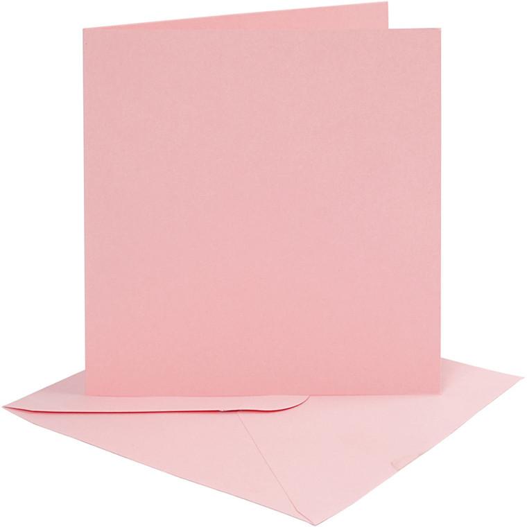 Kort og kuverter, kort str. 15,2x15,2 cm, 220 g, rosa, 4sæt, kuvert str. 15,5x15,5 cm