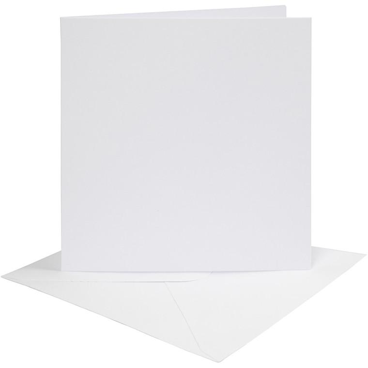 Kort og kuverter, kort str. 15,2x15,2 cm, 230 g, hvid, 4sæt, kuvert str. 15,5x15,5 cm