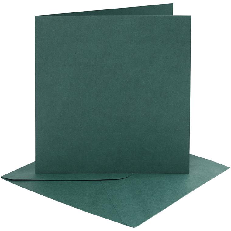 Kort og kuverter, kort str. 15,2x15,2 cm, 230 g, mørk grøn, 4sæt, kuvert str. 15,5x15,5 cm