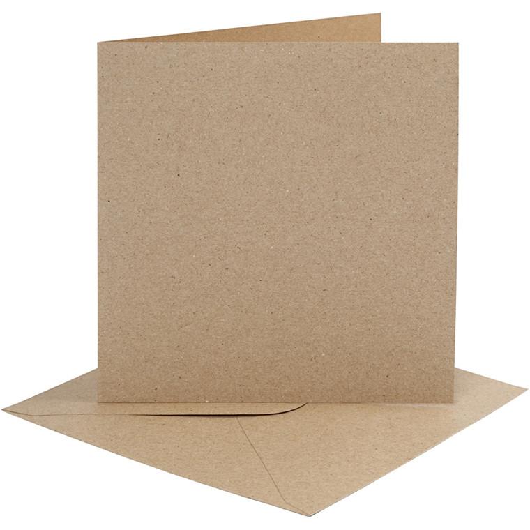 Kort og kuverter, kort str. 15,2x15,2 cm, 230 g, natur, 4sæt, kuvert str. 15,5x15,5 cm