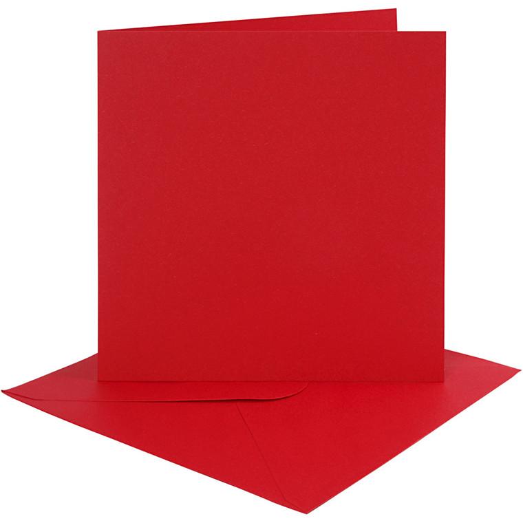 Kort og kuverter, kort str. 15,2x15,2 cm, 230 g, rød, 4sæt, kuvert str. 15,5x15,5 cm