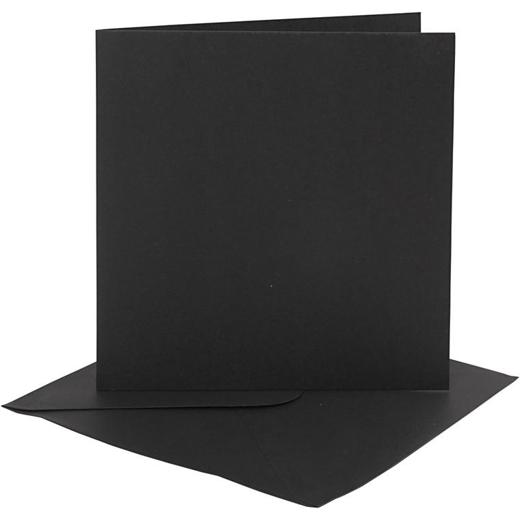 Kort og kuverter, kort str. 15,2x15,2 cm, 230 g, sort, 4sæt, kuvert str. 15,5x15,5 cm