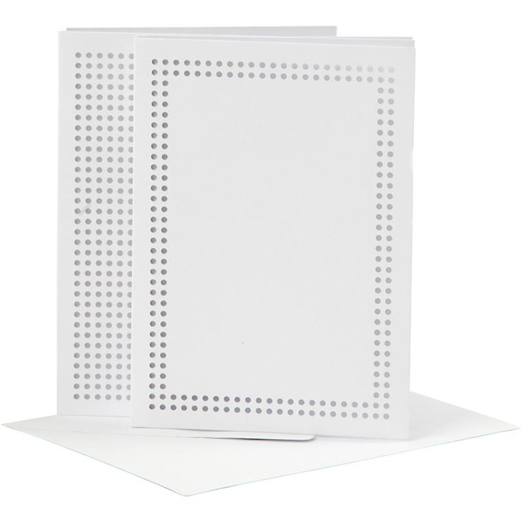 Kort til broderi kort størrelse 10,5 x 15 cm kuvert størrelse 11,5 x 16 cm hvid | 6 stk.