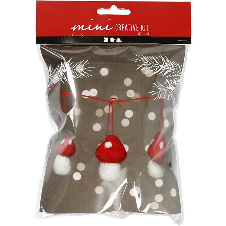 Kreativt minikit, H: 5,5 cm, paddehatte på snor, 3stk.