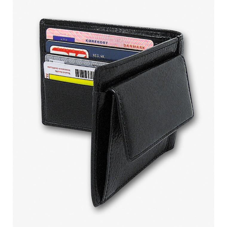 Kreditkortpung med møntrum sort skind 11x9cm 3694 00