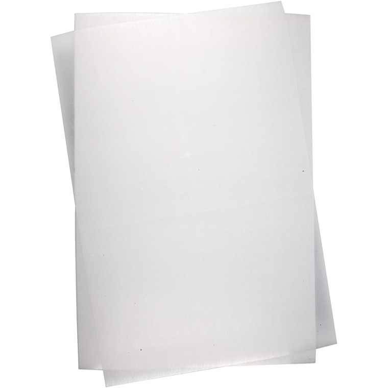 Krympeplast, ark 20x30 cm, mat hvid, 100ark