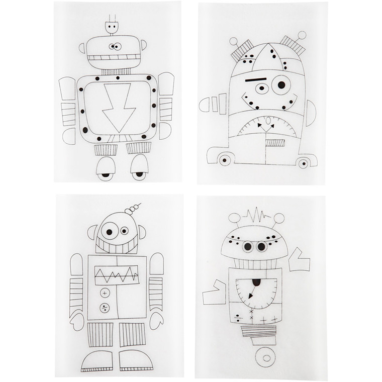 Krympeplast med motiver, ark 10,5x14,5 cm, mat transparent, robotter, 4ass. ark