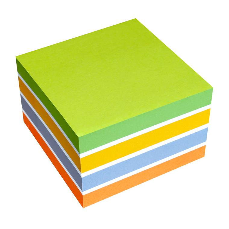 Kubusblok - Info Sticky Farve mix 75 x 75 mm - 450 ark
