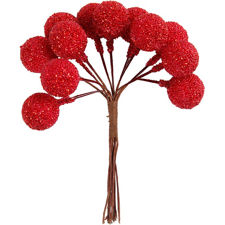 Kunstige bær, diam. 15 mm, julerød, 12stk.
