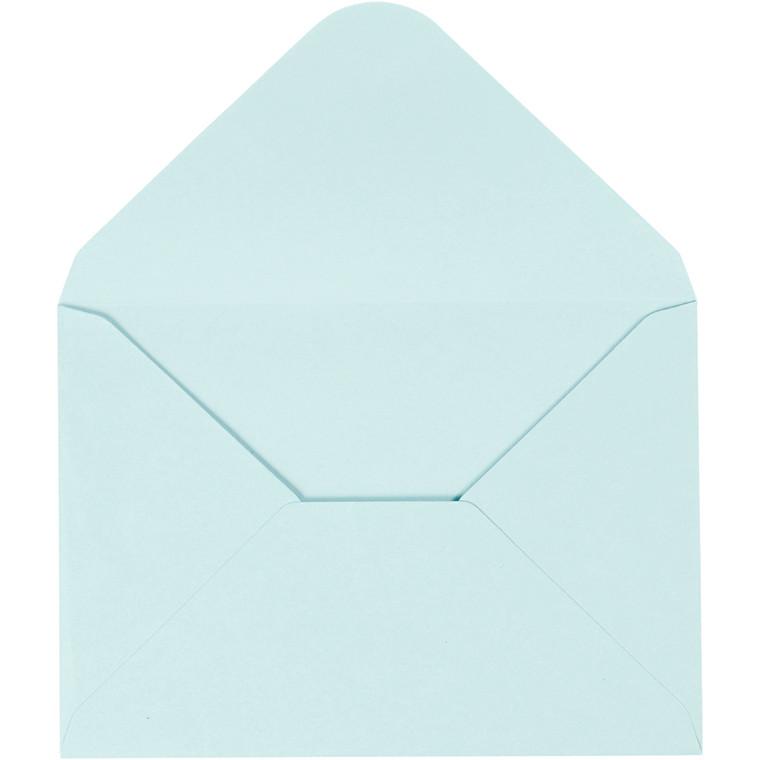 Kuvert, lys blå, str. 11,5x16 cm, 110 g, 10stk.