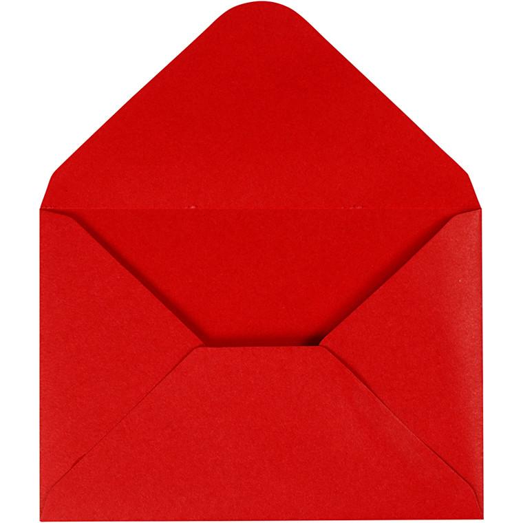 Kuvert, rød, str. 11,5x16 cm, 110 g, 10stk.