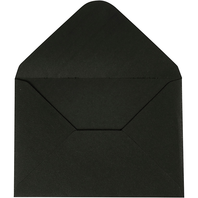 Kuvert, sort, str. 11,5x16 cm, 110 g, 10stk.