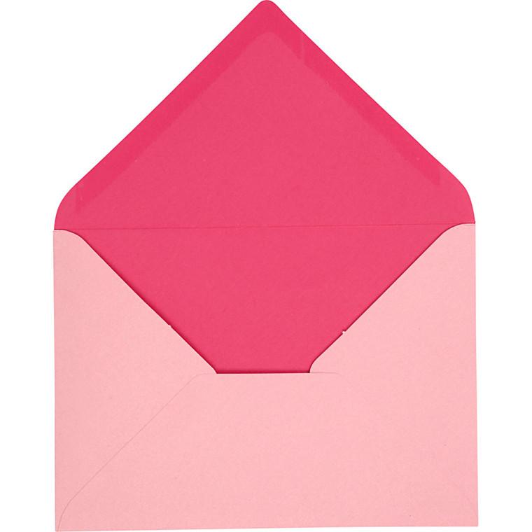 Kuvert, str. 11,5x16 cm, 100 g, pink, 10stk.