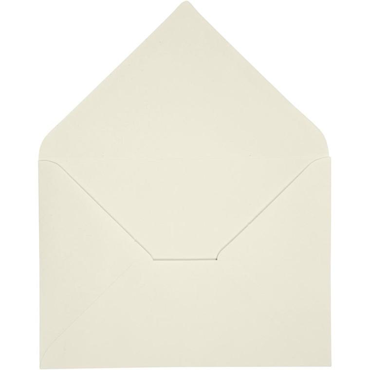Kuvert, str. 11,5x16 cm, 100 g, råhvid, 10stk.