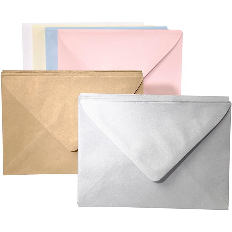 Farvede kuverter C6 i forskellige farver - 120 stk.