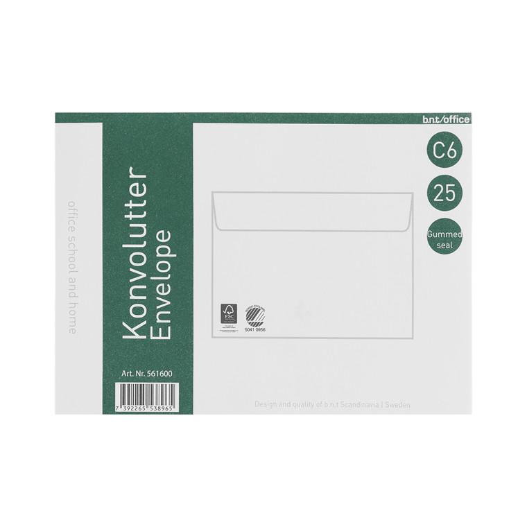 Kuverter C6 70g fugtgummi 114x162mm 25stk/pak