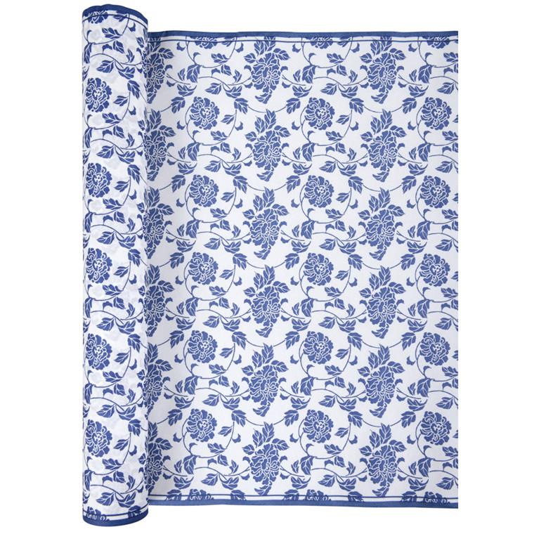 Kuvertløber, Bloom, blå og hvid, airlaid, 40cm x 480cm