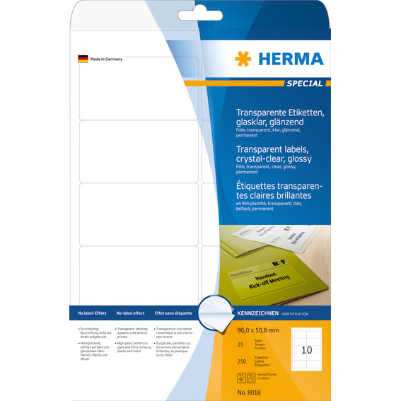 Labels transparent crystal-clear HERMA A4 96x50,8 mm