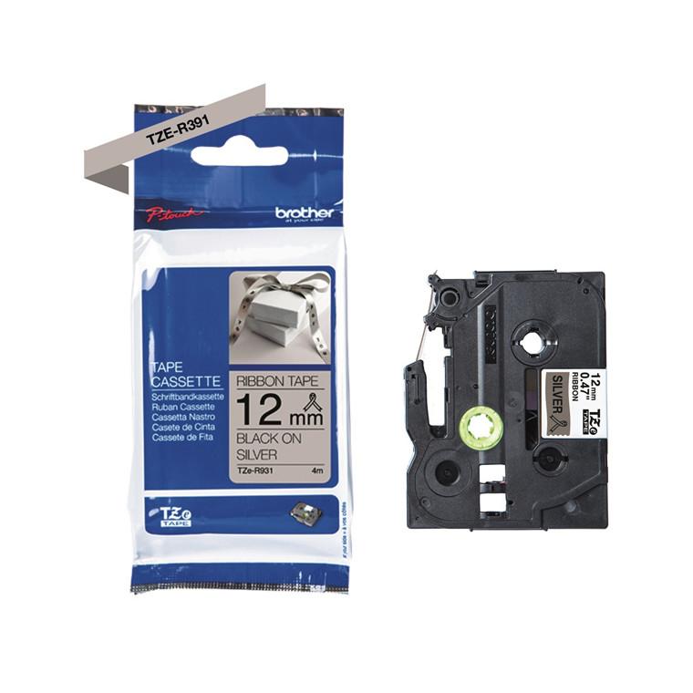 Labeltape Brother TZe-R931 12mmx4m sort på sølv satin