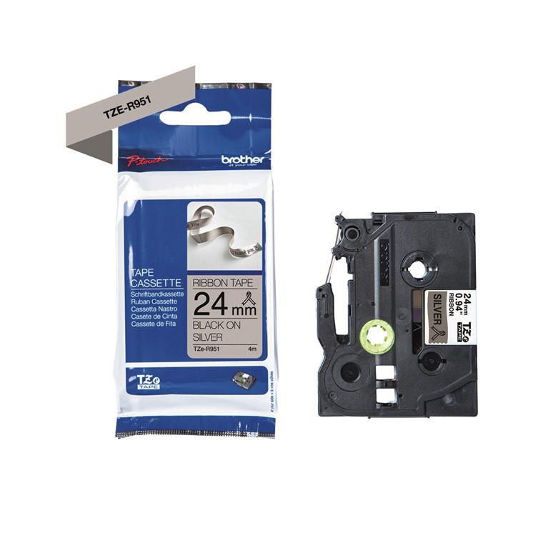 Labeltape Brother TZe-R951 24mmx4m sort på sølv satin