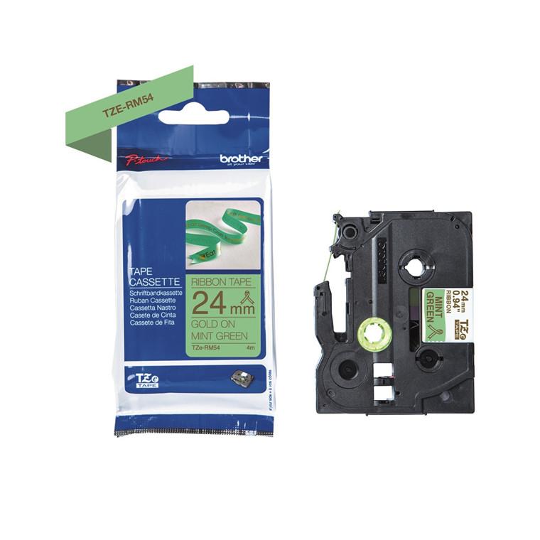 Labeltape Brother TZe-RM54 24mmx4m guld på mintgrøn satin