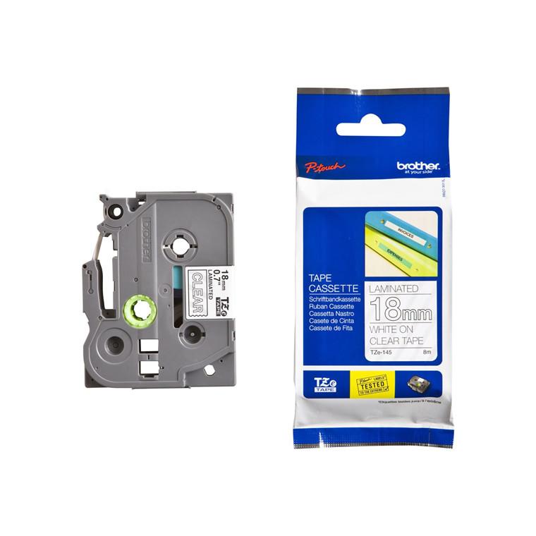 Labeltape Brother TZe145 18mm hvid på klar lamineret