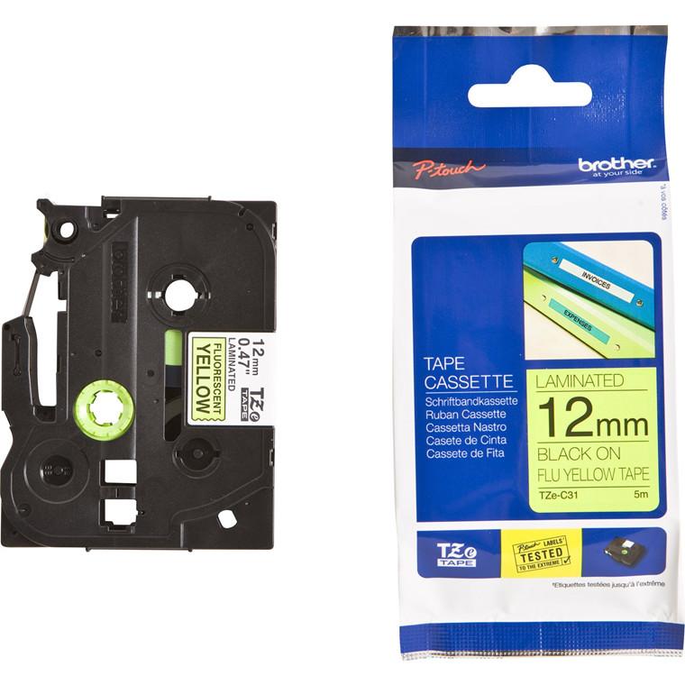Labeltape Brother TZeC31 12mm sort på neongul lamineret