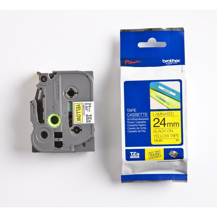 Labeltape Brother TZeS651 24mm sort på gul lammineret