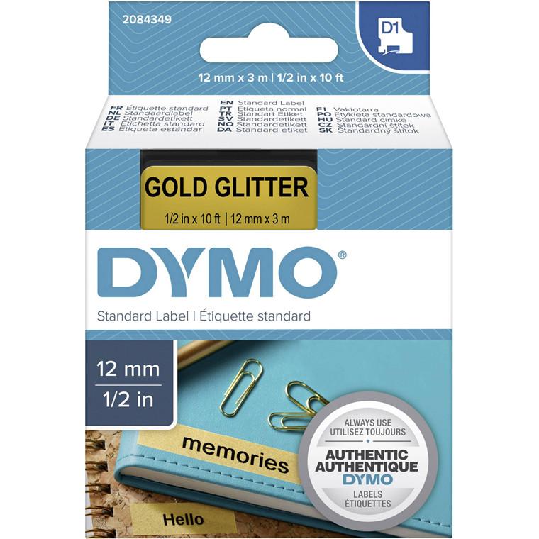 Labeltape Dymo D1 2084349 12mmx3m sort på guld