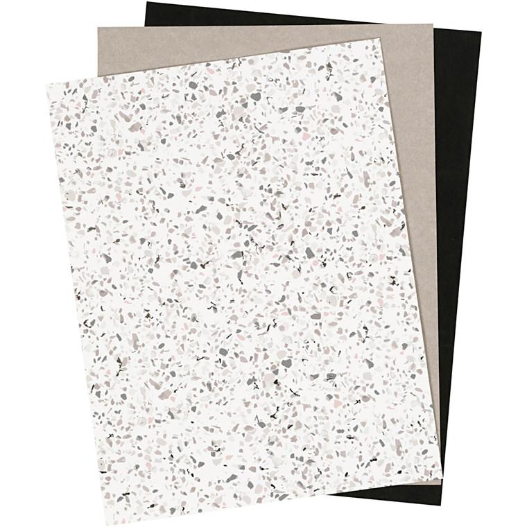 Læderpapir ark tykkelse 0,55 mm grå hvid sort, ensfarvet, print og folie, 3ark