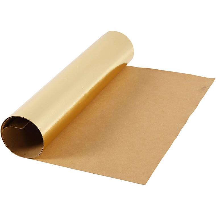 Læderpapir bredde 49 cm tykkelse 0,55 mm guld | 1 meter