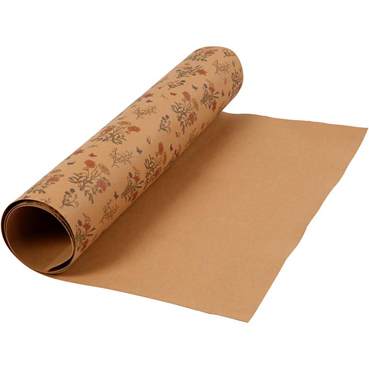 Læderpapir bredde 49,5 mm tykkelse 0,55 mm lys brun blomsterprint | 1 rulle