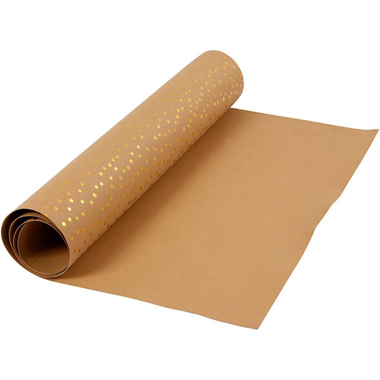 Læderpapir bredde 50 mm tykkelse 0,55 mm 1 meter lys brun guldprint | 1 rulle