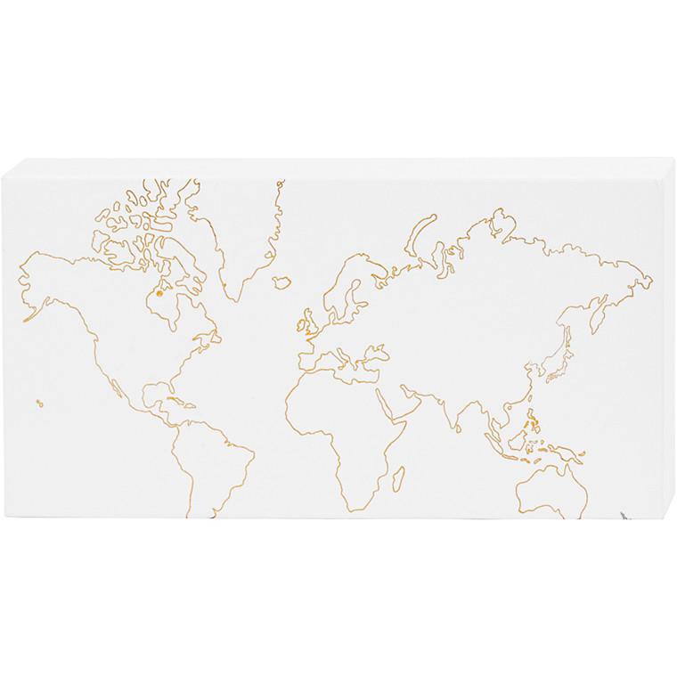 Verdenskort lærred med guldtryk - 25,4 cm x 12,7 cm