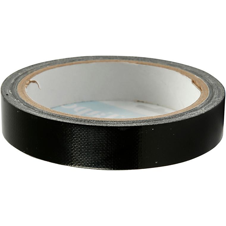 Lærredstape, B: 19 mm, sort, 25m