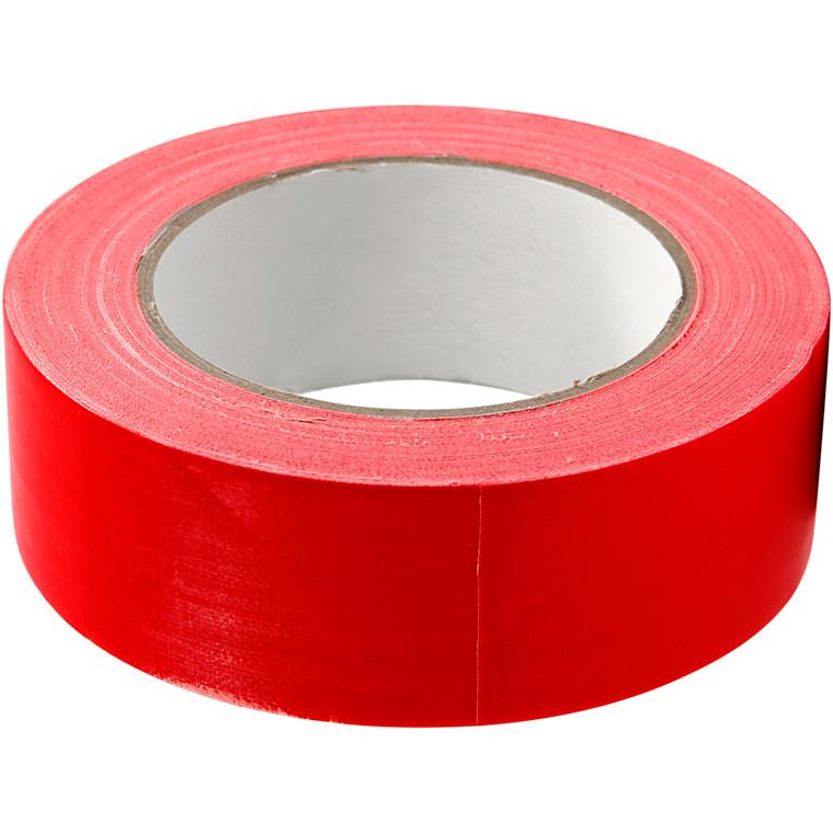 Lærredstape, B: 38 mm, rød, 25m