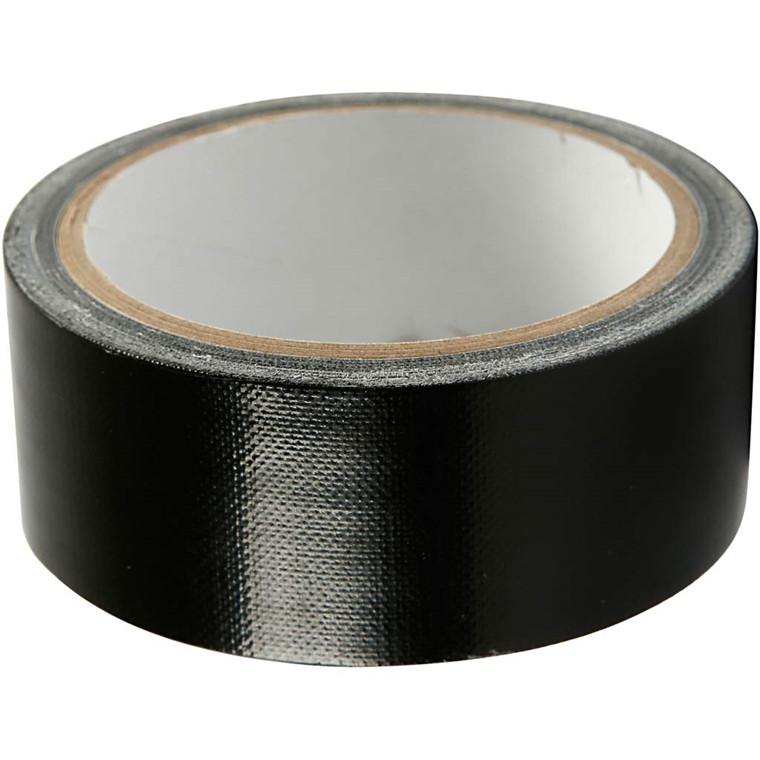 Lærredstape, B: 38 mm, sort, 25m