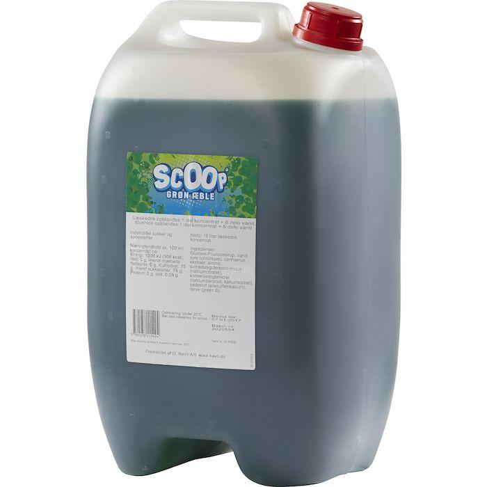 Læskedrik/Slush Ice, Scoop, grøn æble, 10 l