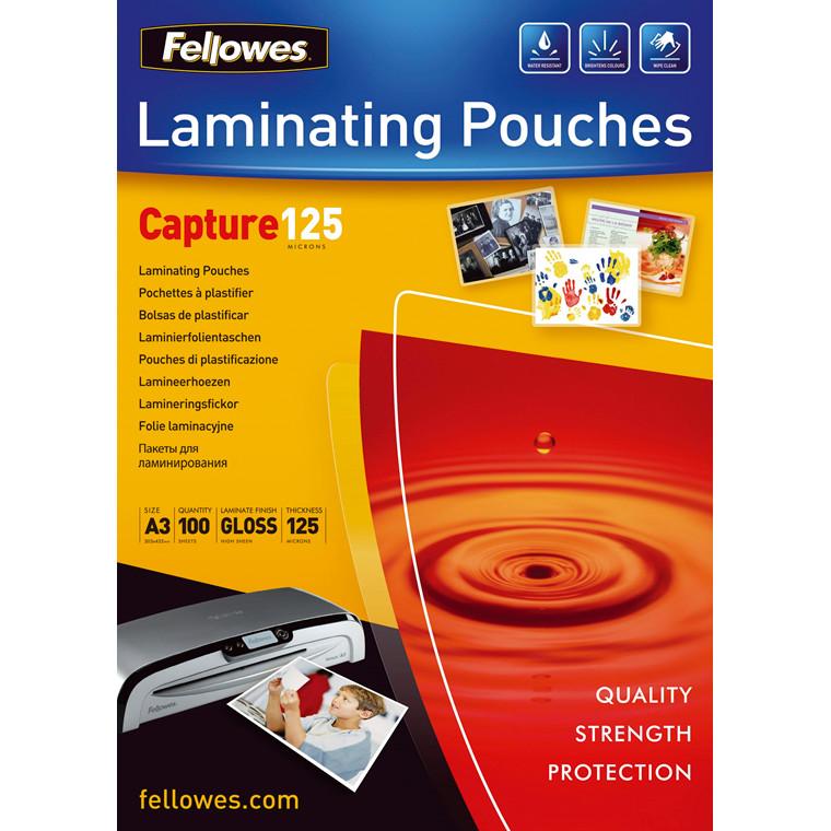 Laminerings lommer A3 Fellowes 125 mic blank - 100 stk