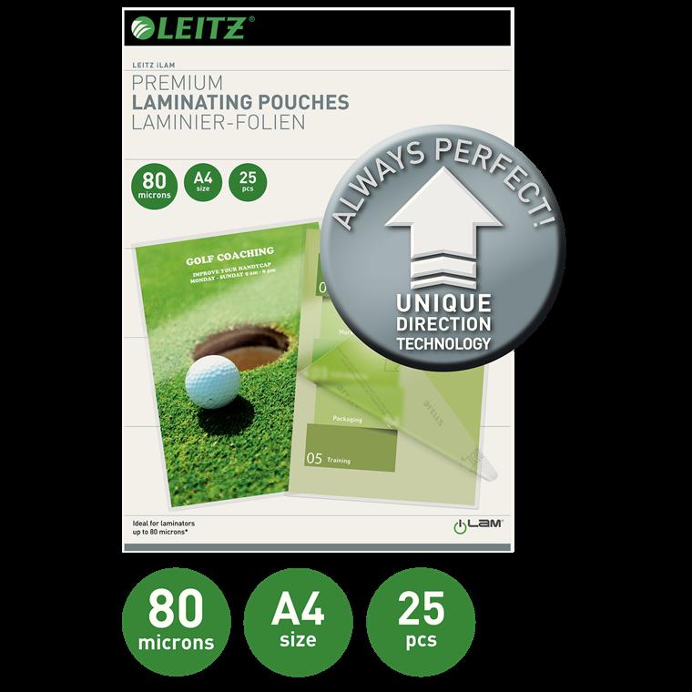 Lamineringslomme 80 mic UDT gloss A4 Leitz | 25 stk