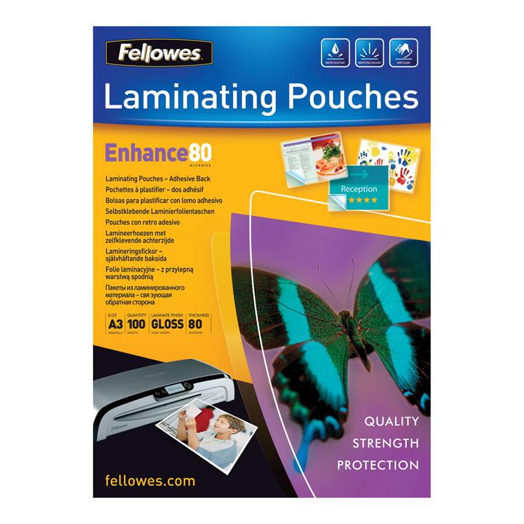 Fellowes Lamineringslommer A3 - Selvklæbende 80 mic - 100 stk
