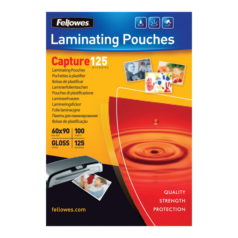 Lamineringslommer - Fellowes 60 x 90 mm 125 mic glossy -  100 stk