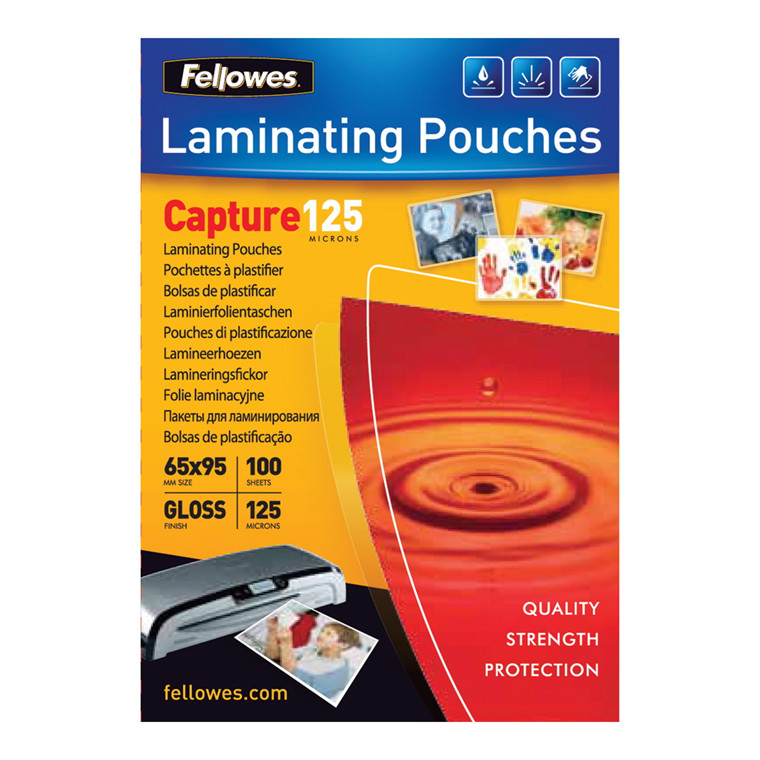 Lamineringslommer - Fellowes 65 x 95 mm 125 mic glossy - 100 stk