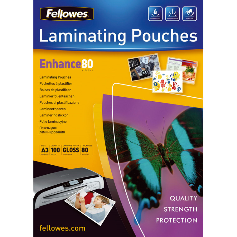 Lamineringslommer - Fellowes A3 80 mic Glossy - 100 stk