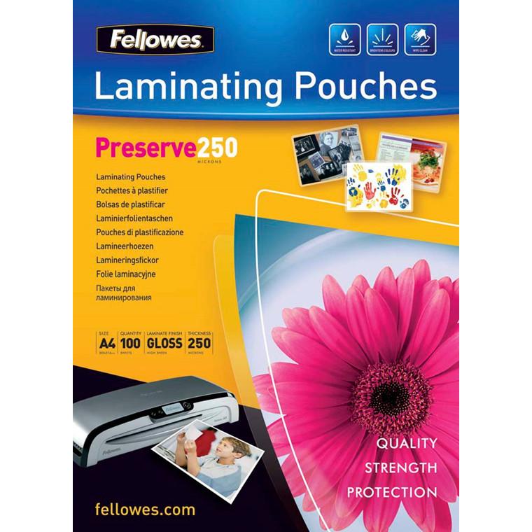 Lamineringslommer - Fellowes A4 250 mic glossy - 100 stk