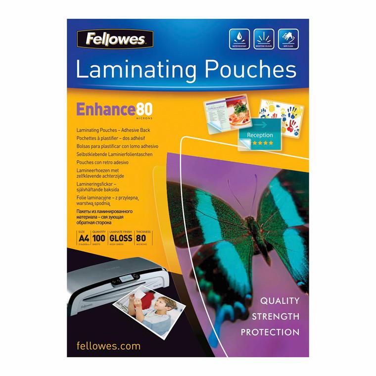 Lamineringslommer - Fellowes A4 selvklæbende 80 mic - 100 stk